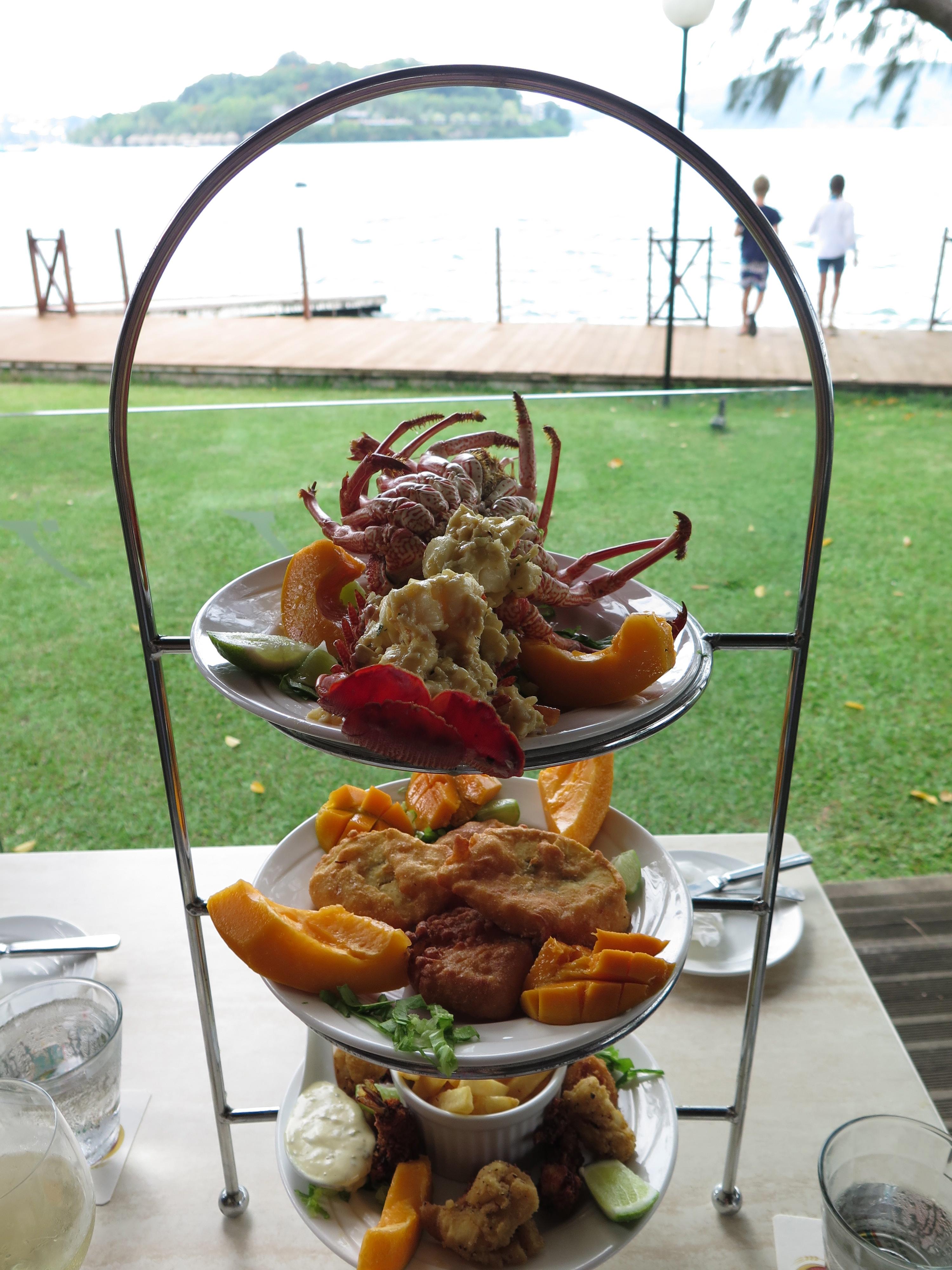 Massive fresh seafood platter in Vanuatu, Port Vila